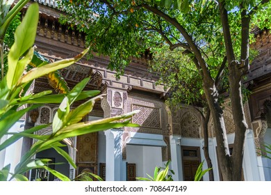 MARRAKECH, MOROCCO - MAY 15, 2017:  interior garden of the Dar si Said Museum, with beautiful islamic decorations on the wall. The museum shows the moroccan art and crafts