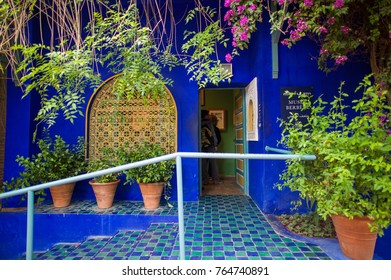 Marrakech, Morocco - May 9 2016: The Jardin Majorelle in Marrakech is one of the most visited sites in Morocco.