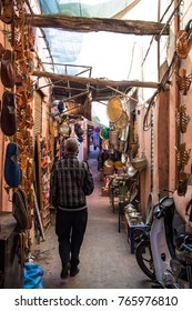 MARRAKECH, MOROCCO; NOV 13: Souks of the medina on November 13, 2017 in Marrakech, Morocco. The souks and markets of the Medina are frequented daily by thousands of Moroccans and tourists   souks