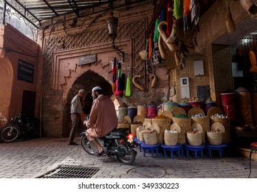MARRAKECH, MOROCCO - OCTOBER 27, 2015:  Unidentified people at market in Marrakech medina near the UNESCO square Djemaa El-fna at Marrakesh, Morocco