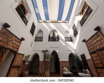 MARRAKECH, MOROCCO - OCTOBER 27, 2015: Traditional riad interior in Marrakech medina near the UNESCO square Djemaa El-fna at Marrakesh, Morocco