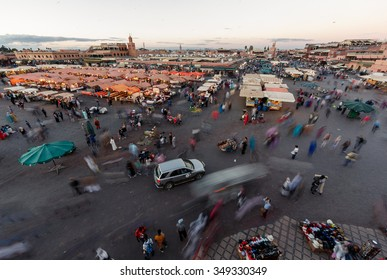 MARRAKECH, MOROCCO - OCTOBER 27, 2015:  Top view of the UNESCO square Djemaa El-fna in Marrakesh, Morocco