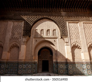 MARRAKECH, MOROCCO - OCTOBER 27, 2015: Madrasa Ben Youssef, Marrakech, Morocco. This Madrasa was an Islamic college in Marrakesh.