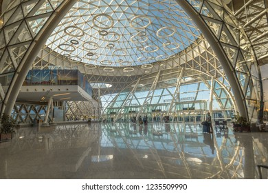 Marrakech, Morocco - October 4, 2018: exterior and interior of Aeroport Menara