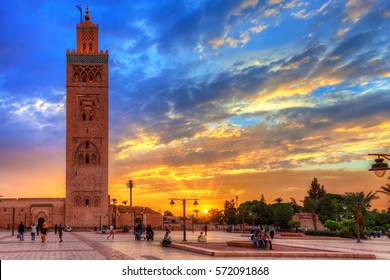 MARRAKECH, MOROCCO - SEPTEMBER 23, 2015: Koutoubia mosque at an amazing sunset.