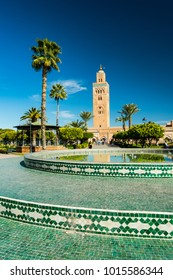 Marrakech,Morocco - January 23rd 2018: Famous Koutoubia Mosque seen from Arabic gardens,Marrakesh,Morocco.