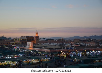 Marrakech/Morocco_18 Dec 2018:  Marrakech Night Market at the Djemaa el Fna Square. The night market is a smorgasbord of colour, smell and sound.