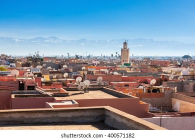 Marrakesh aerial panoramic view. Marrakesh is a major city of Morocco.