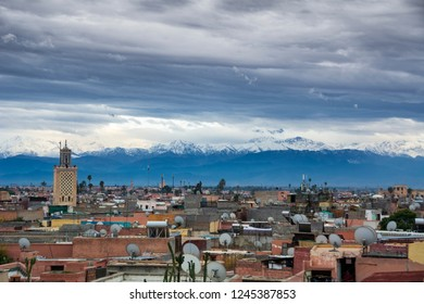 Marrakesh city skyline with backdrop of Atlas mountains
