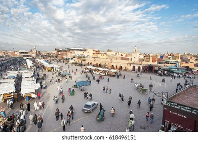 Marrakesh -Marocco - Africa - January 2, 2009: Unidentified people visit the Jemaa el Fna Square in Marrakesh, Morocco. The square is part of the UNESCO World Heritage.