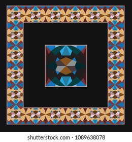 Marrakesh medallion arabic bright pattern. Traditional geometric ethnic style. Eastern beautiful shawl design