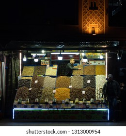 Marrakesh, Morocco - 05, February 2019: Selling dry fruit in the jemaa el fna or djemma el fna square in Marrakech, Morocco