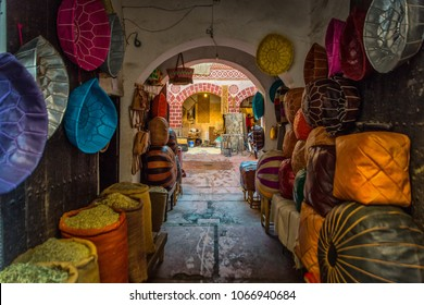 Marrakesh Morocco 10.04.2018 - Main bazzar in the medina of Marrakech