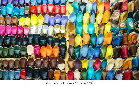 Marrakesh, Morocco, 14th October 2017. Display of brightly coloured slippers.