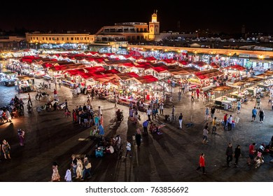 Marrakesh, Morocco - 20, June 2015: Jemma el Fnaa or Djemma el Fna famous square in Marrakesh, Morocco