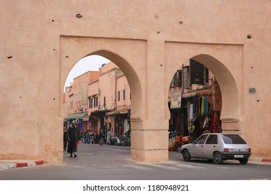 Marrakesh, Morocco - 2016-03-04: The gates of the medina, an entrance to the historic part of the city of Marrakesh