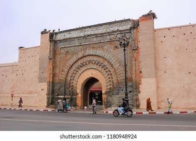 Marrakesh, Morocco - 2016-03-04: The gates of the medina, an entrance to the city of Marrakesh, called Bab Agnaou