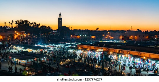 Marrakesh, Morocco - 25, December 2017: Jemma el Fnaa or Djemma el Fna famous square at dusk in Marrakesh, Morocco