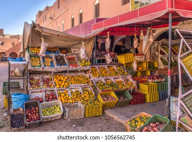 Marrakesh Morocco 25.03.2018 - stall with fresh fruits and vegetables at the local market