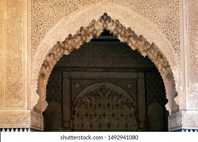 Marrakesh Morocco Apr 14 2012, Tadelakt decorated arch above entrance way at the Saadian Tombs