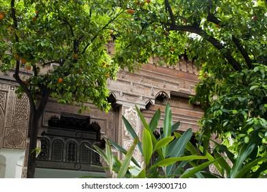 Marrakesh Morocco Apr 15 2012, view of decoration through the orange trees, in courtyard at Palais Bahia
