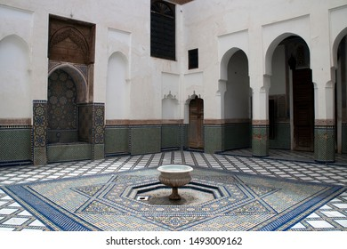 Marrakesh Morocco Apr 15 2012, interior courtyard with fountain and zellige tiled floor at Dar Si Said