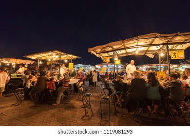 Marrakesh, MOROCCO and April 11, 2013: The Jemaa el-Fnaa square in the old town in Marrakesh. The cultural space is registered with an intangible cultural heritage of UNESCO and is popular with touris