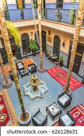 MARRAKESH, MOROCCO - APRIL 1,2017 - Courtyard of the Moroccan House in Marrakesh. Marrakesh is the fourth largest city in the Morocco.