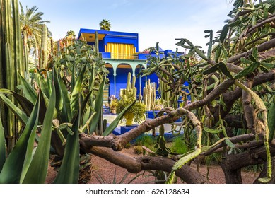 MARRAKESH, MOROCCO - APRIL 1,2017 - Museum of Islamic Art, painted in Majorelle Blue, at the Majorelle Garden in Marrakesh. Marrakesh is the fourth largest city in the Morocco.