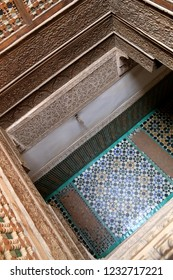 Marrakesh, Morocco - April 25th 2015: Courtyard with typical Moroccan tiled floor at the Ben Youssef Madrasa (Qur'anic school) in Marrakesh