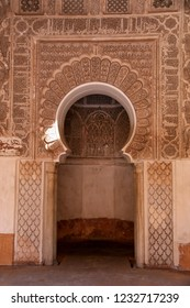 Marrakesh, Morocco - April 25th 2015: Doorway leading into a former class room at the Ben Youssef Madrasa (Qur'anic school) in Marrakesh