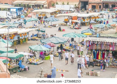 MARRAKESH, MOROCCO, APRIL 3, 2015: Jemaa el-Fnaa square -general view from above