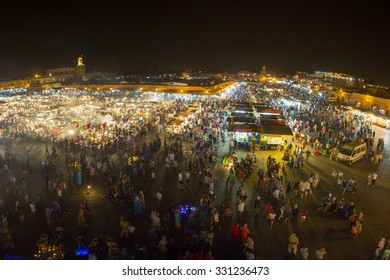 MARRAKESH, MOROCCO, AUGUST 19: Jamaa el Fna at night, a square and market place in Marrakesh medina quarter. Morocco, Africa. The square is a UNESCO World Heritage site. Morocco 2014