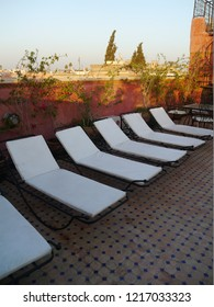 Marrakesh, Morocco / Morocco - August 2017: Rooftop of a traditional riad in Marrakesh