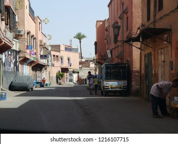Marrakesh, Morocco / Morocco - August 2017: Street in Marrakesh