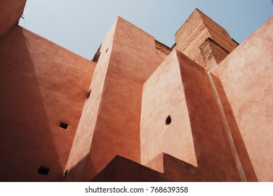 MARRAKESH, MOROCCO - AUGUST 8, 2017. Ruined El Badi Palace on August 8, 2017 in Marrakesh, Morocco
