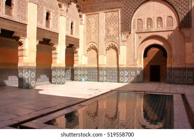 MARRAKESH, MOROCCO: Courtyard of the Medersa Ben Youssef