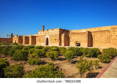 MARRAKESH, MOROCCO - DECEMBER 24, 2017 - El Badi Palace is a ruined palace located in Marrakesh, Morocco. It is commissioned by the Arab Saadian sultan Ahmad al-Mansur.