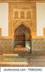 MARRAKESH, MOROCCO - DECEMBER 24, 2017 -  Interior of the Saadian tombs. Date back from the time of the sultan Ahmad al-Mansur (1578-1603)