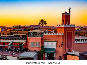 Marrakesh, Morocco - December 25, 2017: Jemaa el Fna square, amin market square in center of Marrakesh.