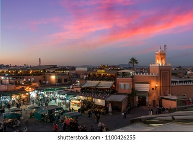 Marrakesh, Morocco - December 26, 2017: The night market on Djemaa el Fna square in center of Marrakesh.