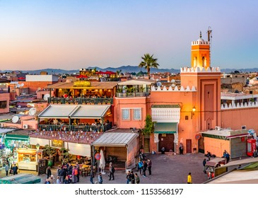 Marrakesh, Morocco - December 26, 2017: The night market on Djemaa el Fna square in center of Marrakesh.