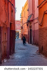 MARRAKESH, MOROCCO - DECEMBER 26, 2017: People in the medina of Marrakesh. Marrakesh is the most popular tourist destination in Morocco.