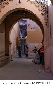 MARRAKESH, MOROCCO - DECEMBER 26, 2017: People in the medina of Marrakesh near Photography Museum. Marrakesh is the most popular tourist destination in Morocco.