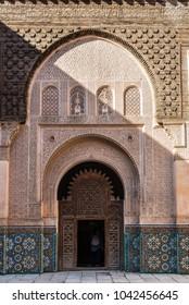 Marrakesh, Morocco - December 8, 2016: Inside the five century old school or Ali ben Youssef Medersa in the center of Marrakesh. The Ben Youssef Madrasa was an Islamic college in Marrakesh, Morocco.