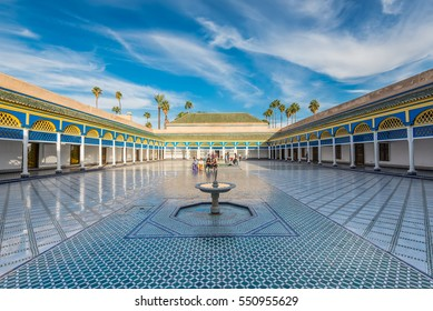 Marrakesh, Morocco - December 8, 2016: Inside the beautiful Bahia palace with the fountain in Marrakesh, Morocco, Africa.