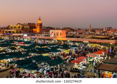 Marrakesh, Morocco - December 8, 2018: Jamaa el Fna market square. Jemaa el-Fnaa, Djema el-Fna or Djemaa el-Fnaa is a famous square and market place in Marrakesh's medina quarter.