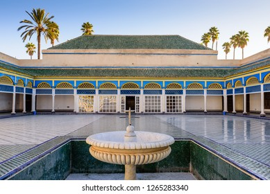 Marrakesh, Morocco - December 9, 2018: Sightseeing of Morocco. Courtyard at El Bahia Palace in Marrakesh old town