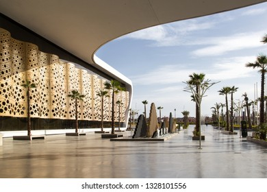 Marrakesh, Morocco - February 20, 2019: Entrance to departures at the Marrakesh International Menara Airport. Marrakesh is the most popular tourist destination in Morocco.