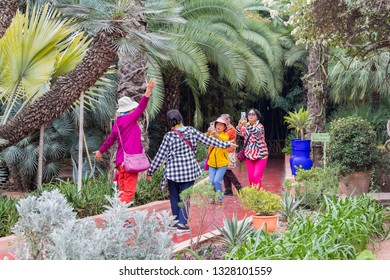 Marrakesh, Morocco - February 27, 2019: A group of Chinese female tourists enjoying portrait photography of different poses in Jardin Majorelle, Marrakesh, Morocco